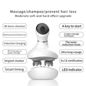 Spa Wand Handy Shampoo Brush Spider Automatic Battery Powered Operated Silicone Hair Smart Head Massager Electric Scalp Massager