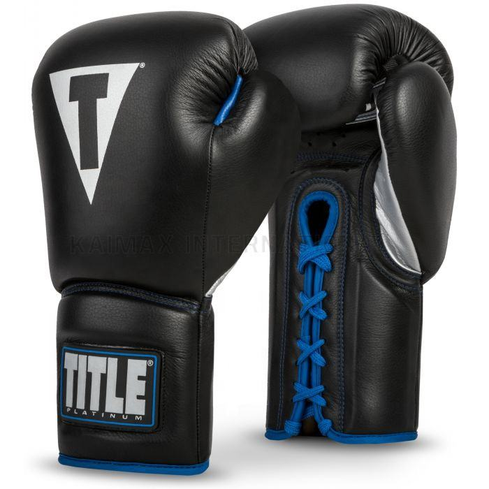 Customized Logo Leather Training Laces Black Boxing Gloves
