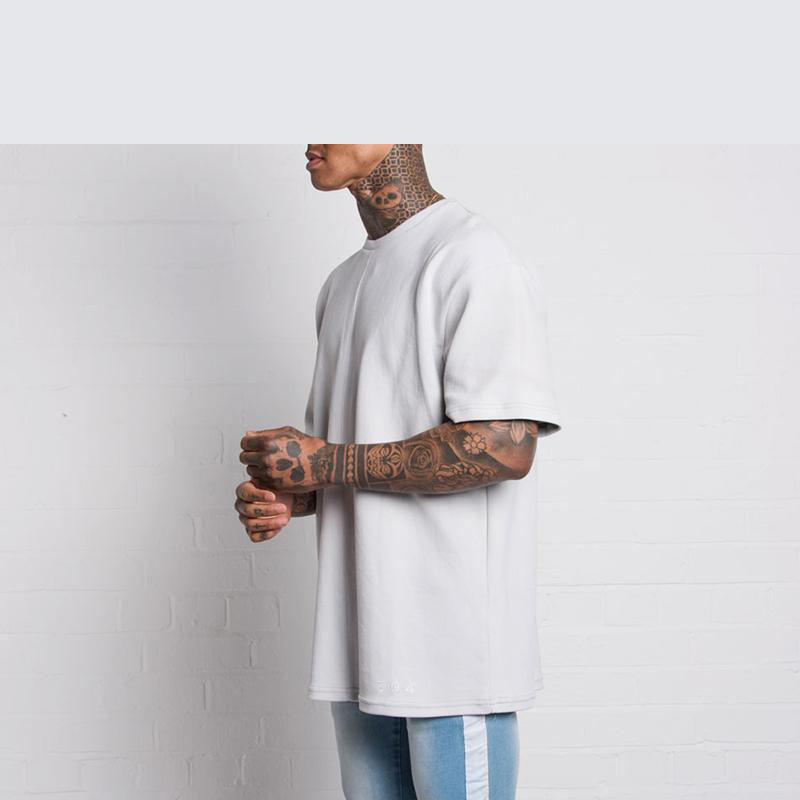 Relaxed boxy fit style t shirt streetwear white waffle t shirt