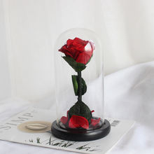 Valentine's Mother's Day Gift Handmade Preserved Red Rose in Glass Dome