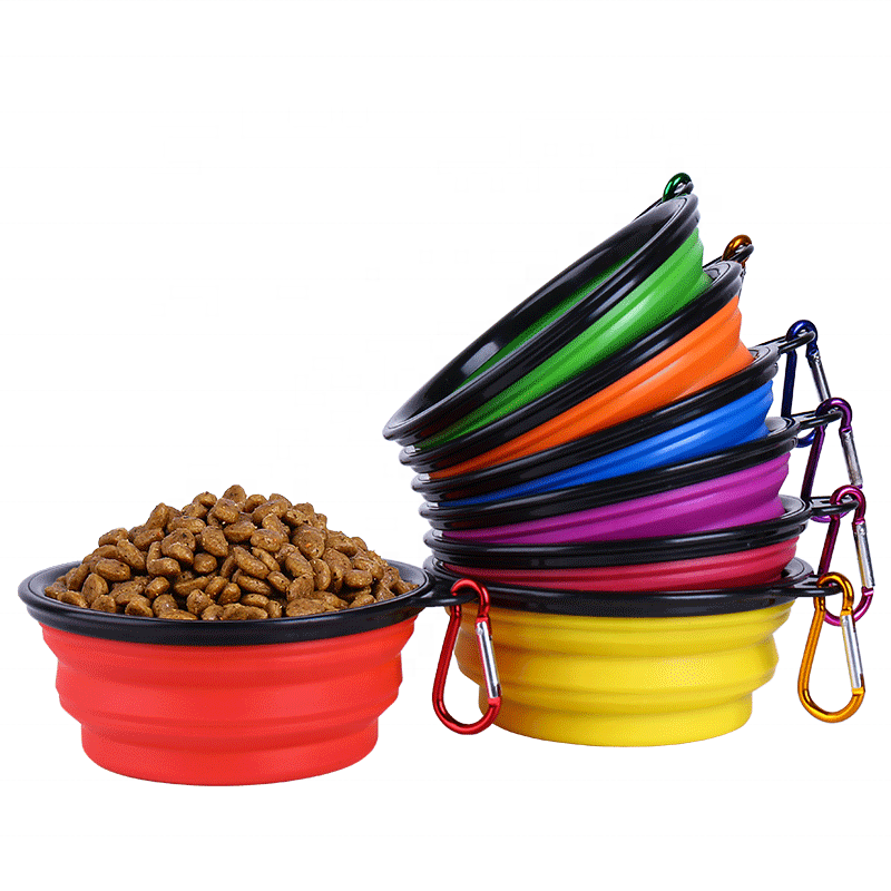Free sample available Plastic Collapsible new design 350ml foldable water Silicone dog pet food feeding bowl