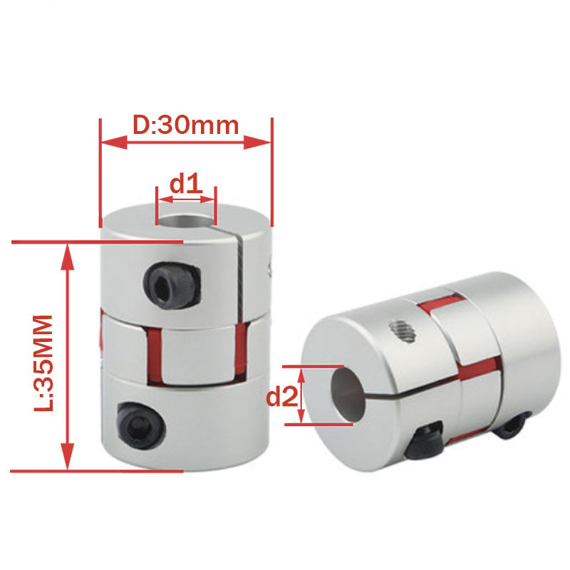 Flexible plum clamp coupler D30 L35 shaft size CNC Jaw shaft coupling 6/6.35/8/10/12/14/16mm D30L35