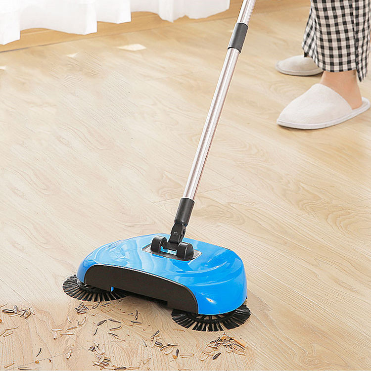Best quality home adjustable 360 degree spin floor clean mop sweep machine propelled hand push broom sweeper with handles