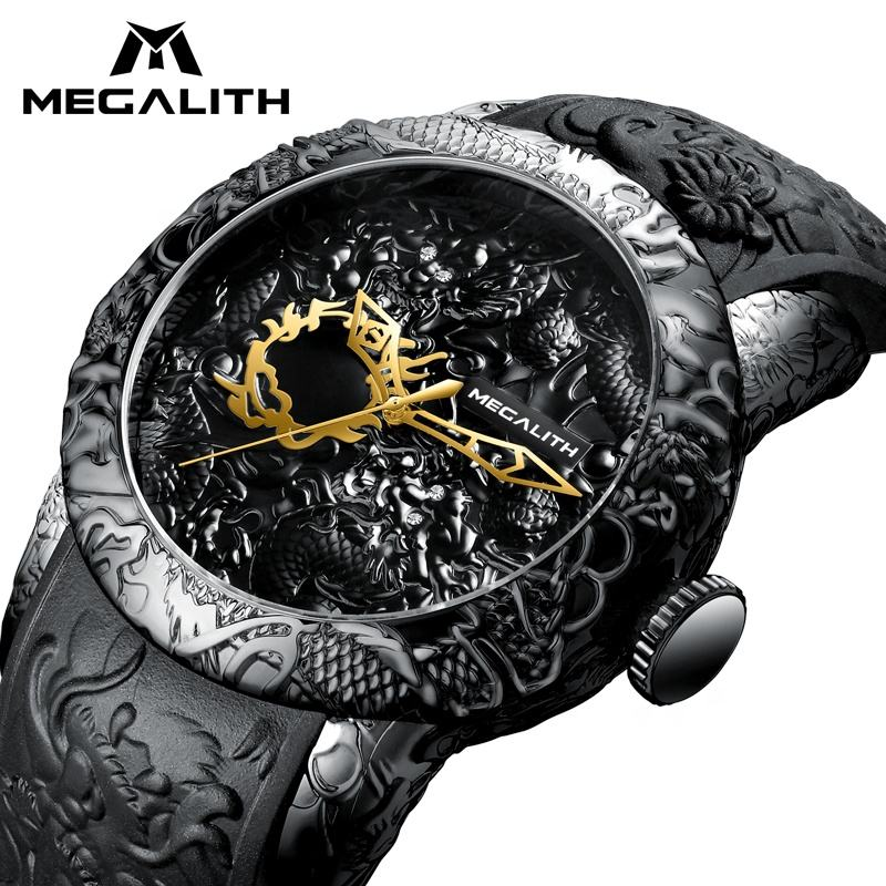 MEGALITH Chinese Dragon Men gold Watches Automatic Watches Waterproof Male Clock Menso Watches naga jam tangan pria Wristwatches