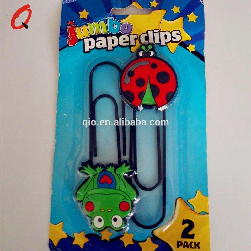 plastic PVC jumbo clip and mini cartoon paper clip with blister card packing