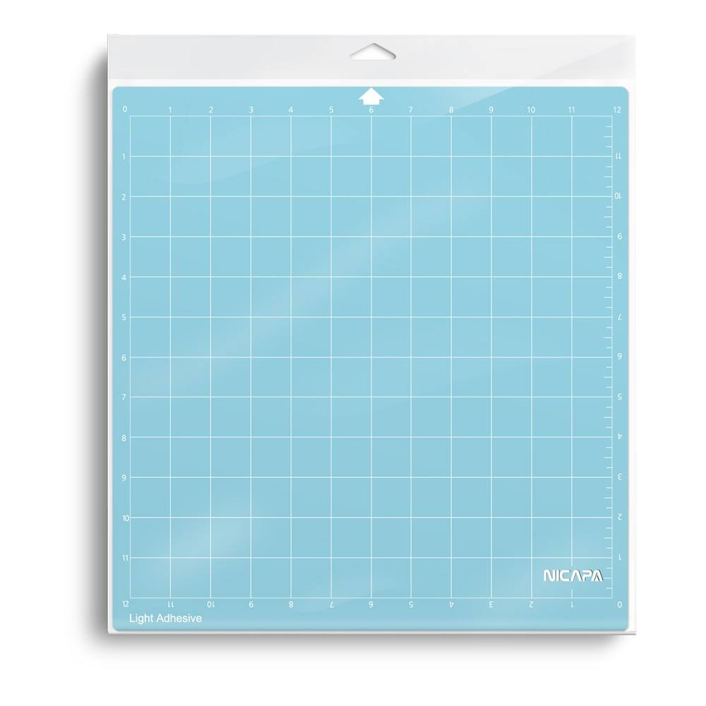 Nicapa Cutting Mat for Silhouette Cameo 3/2/1 [Light-Grip,12x12,1piece/pack] Sticky Non-Slip Blue Cut Accessories Set Mats