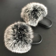 2020 Fashion Women Real Fox Fur Slides Slippers Outdoor Soft Fur Flip Flop Furry Sandals Custom Top Snow Color Wholesale Price