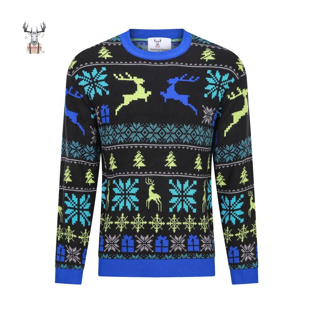 Crew Neck Unisex Adult Knitted Christmas Jumper Custom Pullover Ugly Christmas Sweater