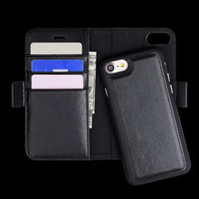 Two In One Detachable Leather Case for Iphone 7, Vegetable-tanned Leather Wallet phone casse for Iphone 8