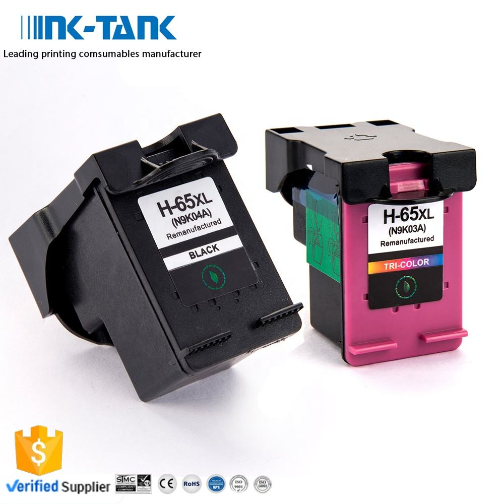 INK-TANK 65 XL 65XL Premium Remanufactured Color Ink Cartridge For HP DeskJet 3720 3752 2621 2655