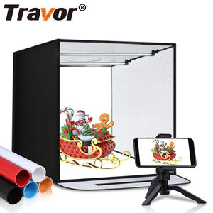 Travor hot selling F40 easy 40*40cm 3200k/5500k light softbox shooting tent 15w folding box-light led mini studio photo soft box