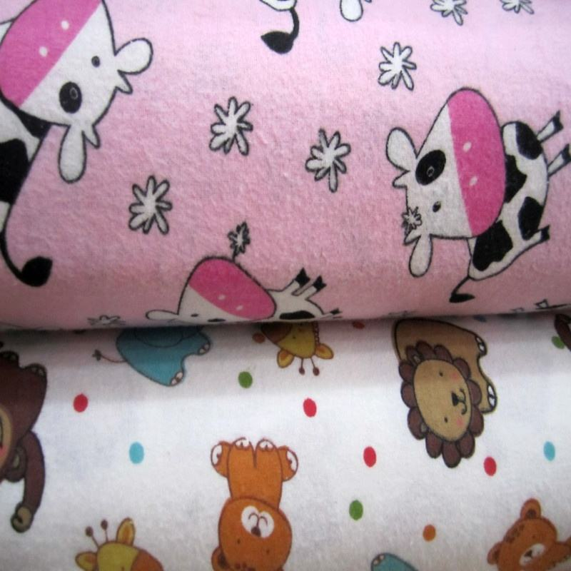 Custom printed poly cotton TC flannel baby flannel fabric
