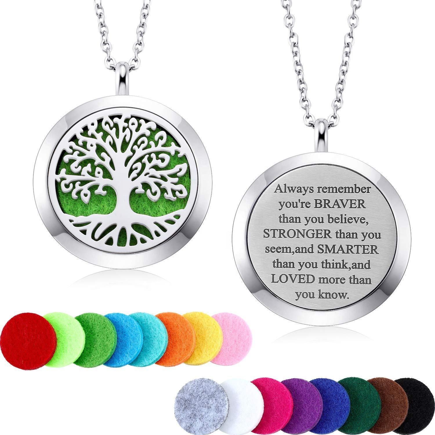 Aromatherapy Essential Oil Diffuser Necklace Locket Pendant Stainless Steel Perfume Necklace with 16 Refill Pads and 24 inch Ad