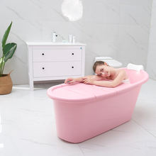 Thickened Tough Plastic Adult Bath Barrel Extra Large Bath Barrel Children Bath Half-fold Bathtub Plastic Barrel With Lid