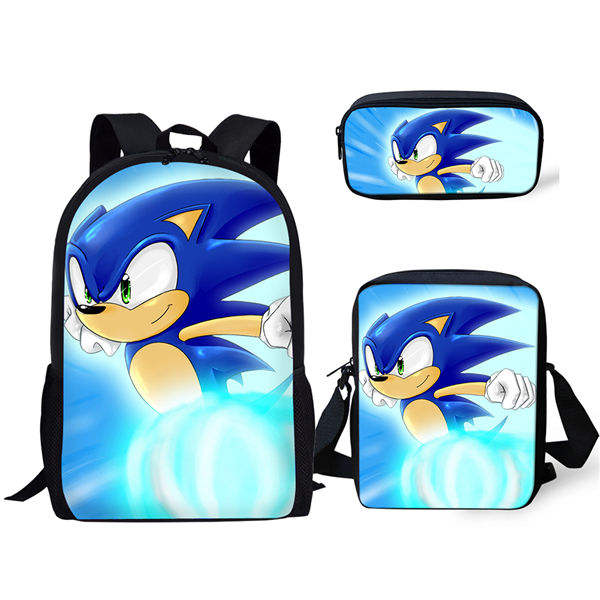 Fashion 3Pcs Set Backpack Hot Game Sonic 4 The Hedgehog Pattern Students School Bags Cartoon Anime Teenagers Book-Bags Set