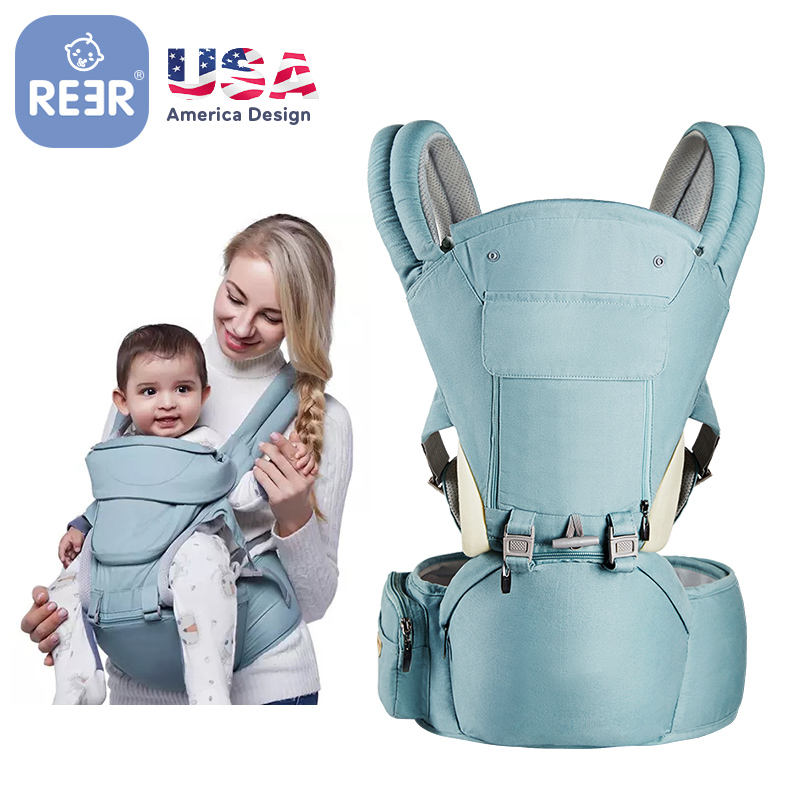 REER Amazon CPC EN13209 Hip Seat Newborn Baby Wrap Carrier Organic Cotton Sling Travel Ergonomic Backpack Baby Carrier