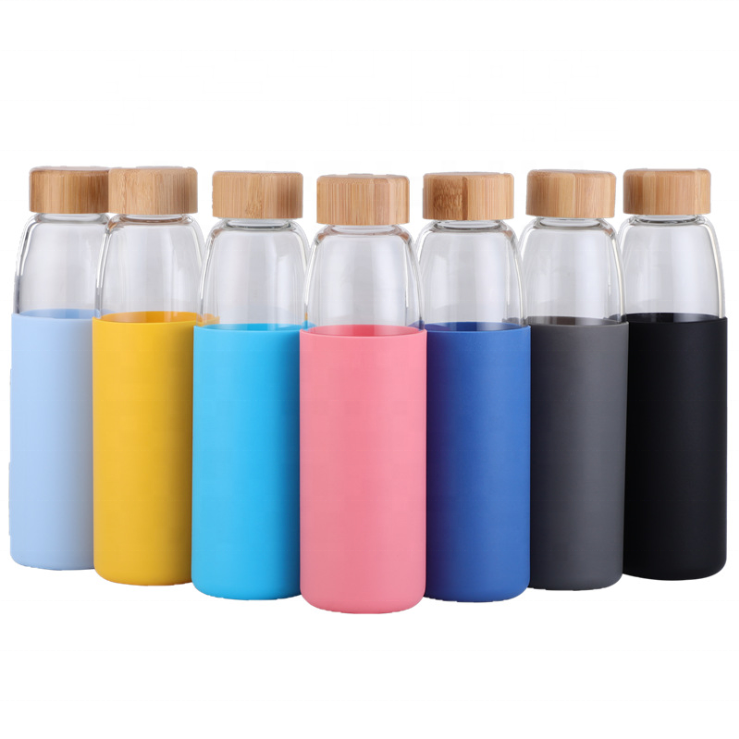 500ml unbreakable glass water bottle with soft sleeve / silicone seal with bamboo lids