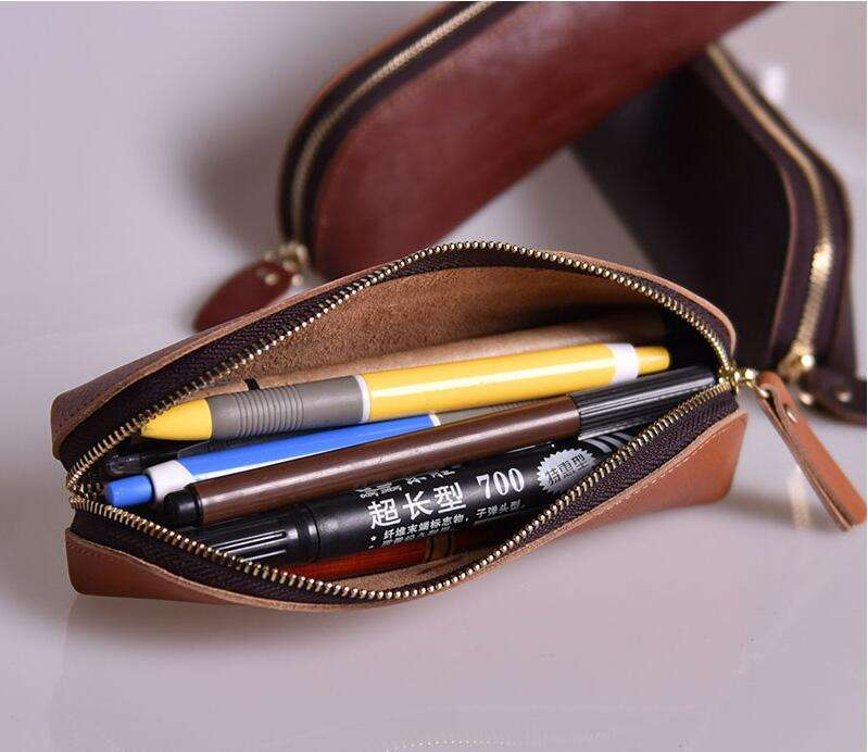 Fancy school office pencils holders organizer genuine leather pen holder