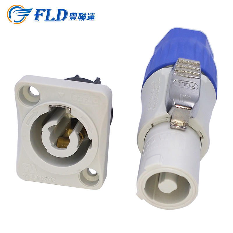 Fconnr blue and grey power out waterproof push lock powercon cable connector IP65
