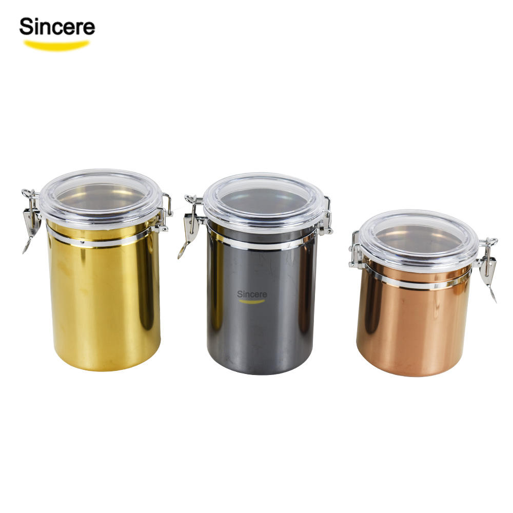 Set of 4 Stainless Steel Seal Pot Kitchen Canisters Set Tea tin Container Leakproof