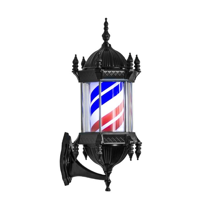 Barber Pole LED Vintage Rotating Light Waterproof Hair Salon Sign Light Wall Mounted Lamp