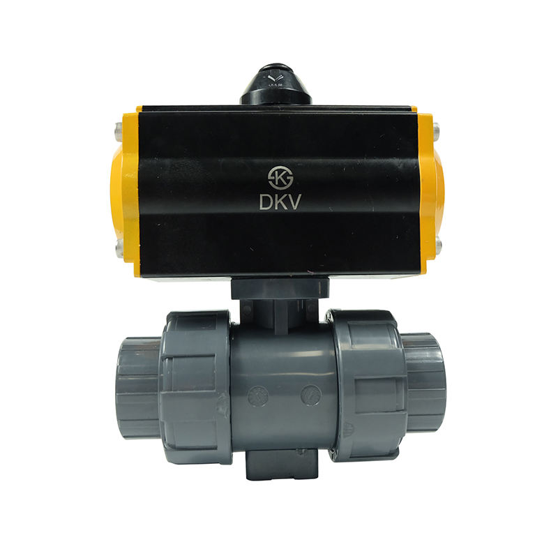 DKV high efficiency 220V 1 inch abs upvc water plastic double union thread 1 one way actuator pneumatic ball valve