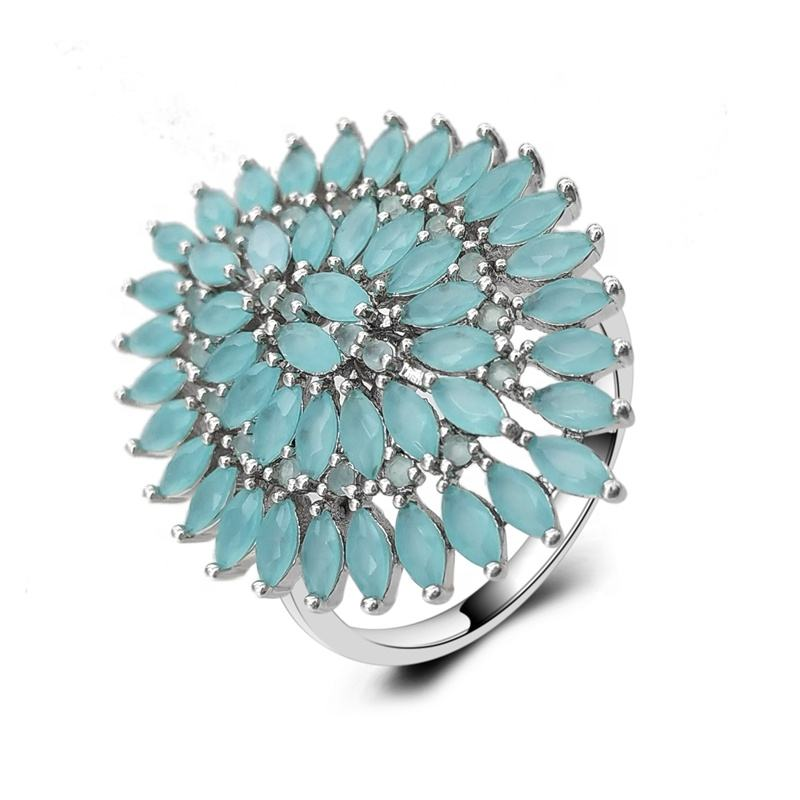 Zuanfa In Stock Brazil Fashion Wedding Jewelry Navette Glass Stone Paved Ring for Women