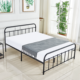 Queen Size Bed Frame, Reinforced Metal Platform/Vintage Style Design/Heavy Steel Support Mattress Foundation