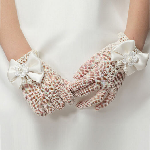 Sweet Cheap Lace Flower Girl Gloves Children Ivory Wedding Mesh Glove for Kids