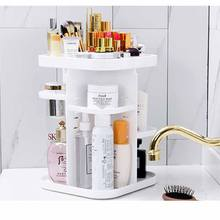 Rotating 360 degree round shape cosmetic organizer transparency plastic desktop make up storage box