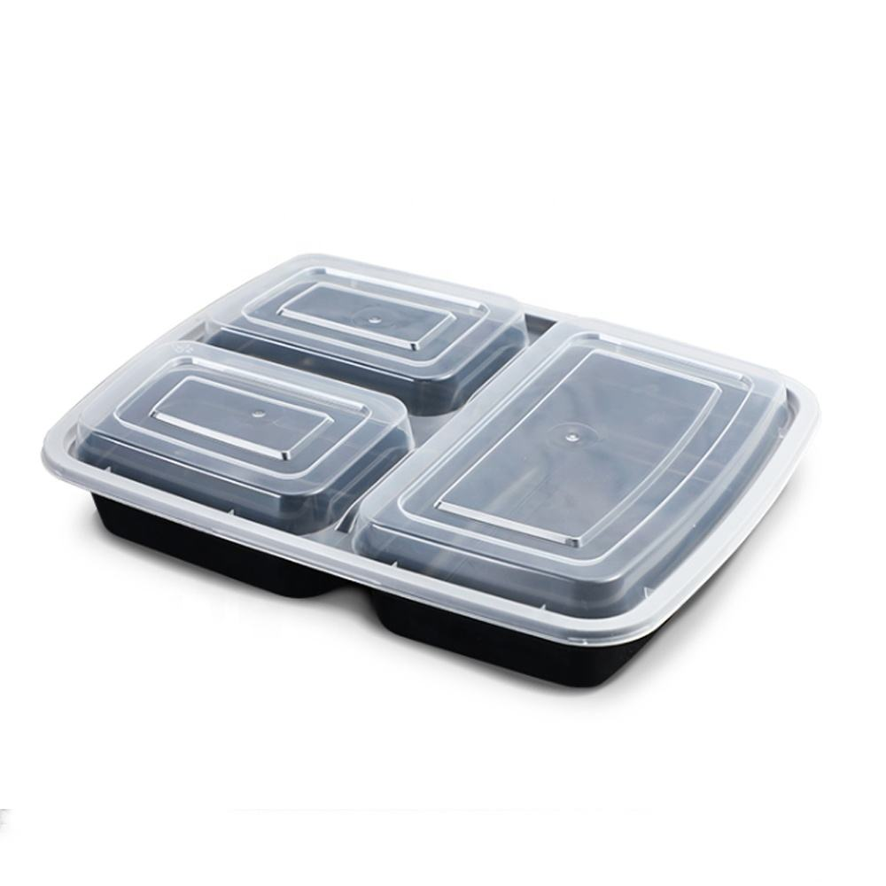 takeaway food container disposable PP black plastic 3 compartment lunch box