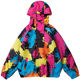Men Hip Hop Streetwear Windbreaker Graffiti Ink Color Block Half Zipper Pullover Hoodie Jacket Coat