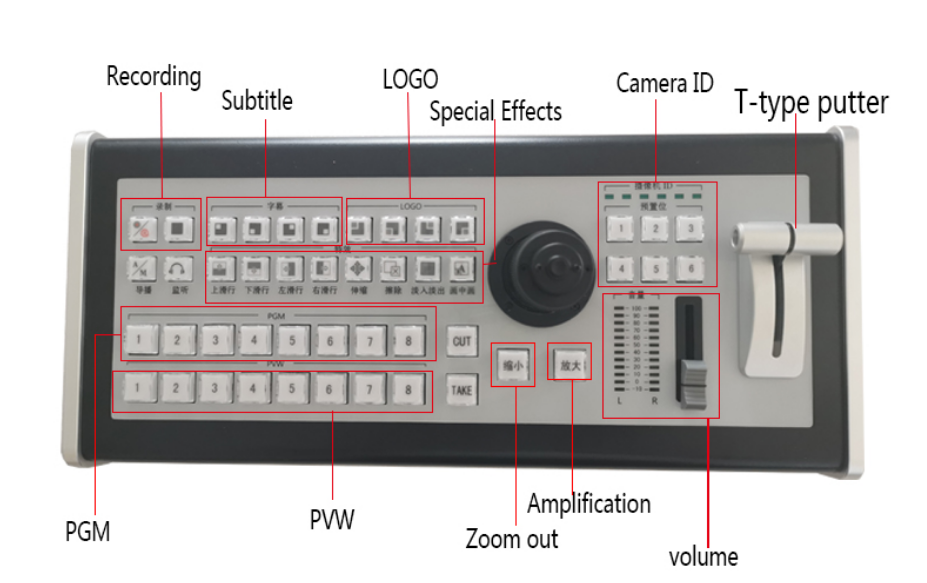 8 Channels Network Broadcasting Operator Keyboard Multi Format Video Switch Directors