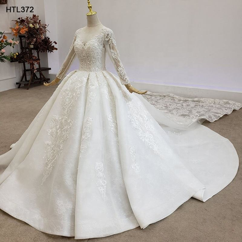Jancemebr HTL372 Long Sleeve Luxury Lace Bridal Dress Wedding Dress Long Train