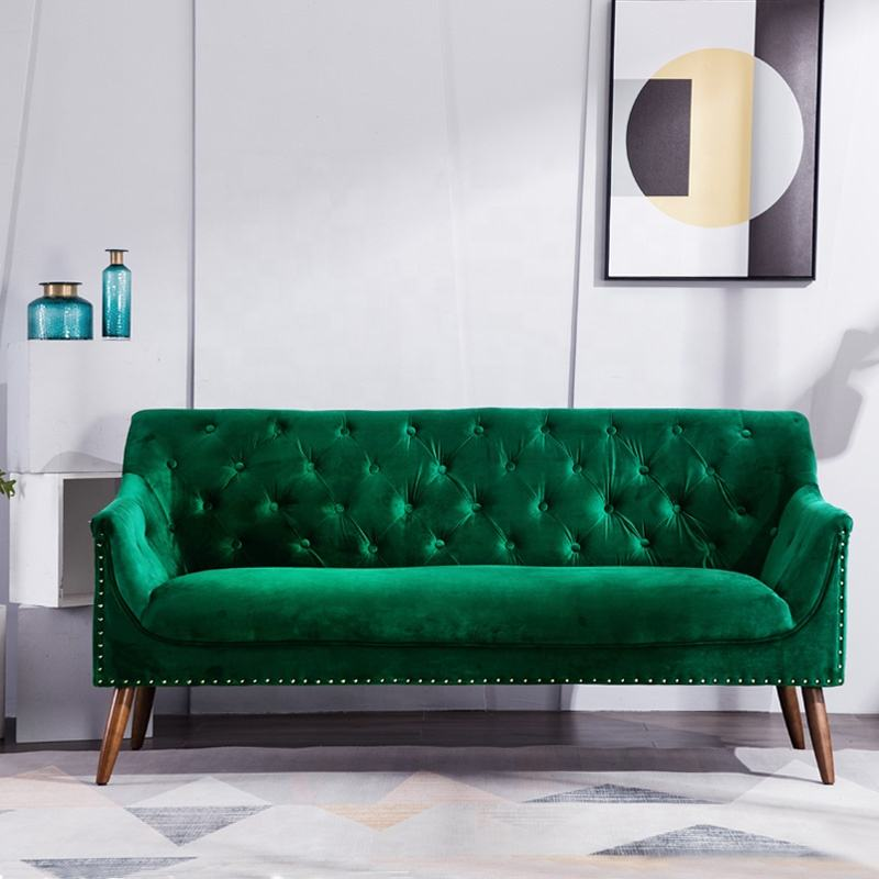 Modern American Style Green Velvet Fabric Tufted Three Seat Couch Sofa Living Room