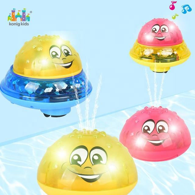 2020 Konig Kids Summer Popular Electric Spray Water Light Rotate Children Toddler Swimming Party Bathroom Led Light Bath Toy