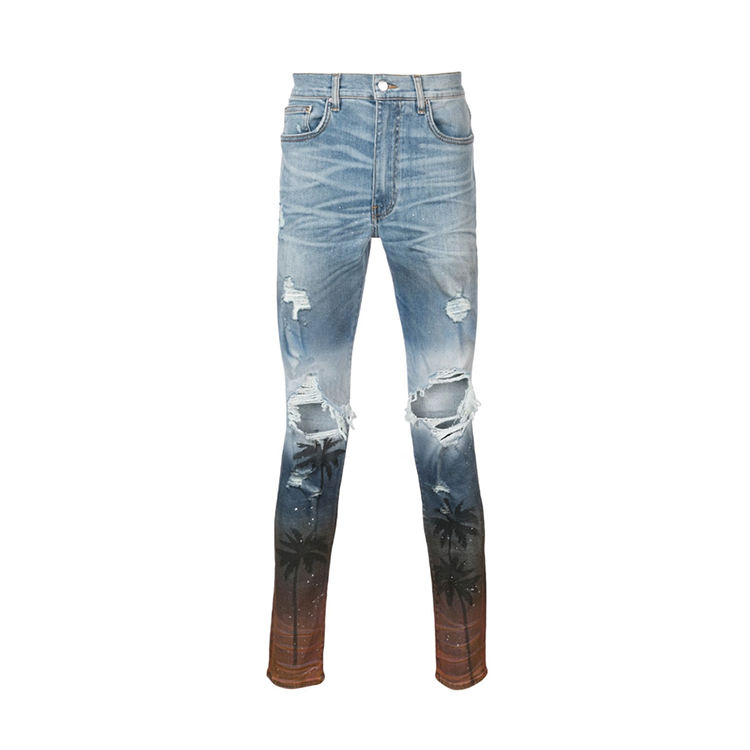 2019 Hot Sale Custom Wholesale Fashion Cut Up Blue Cotton Blend Distressed Skinny Jeans