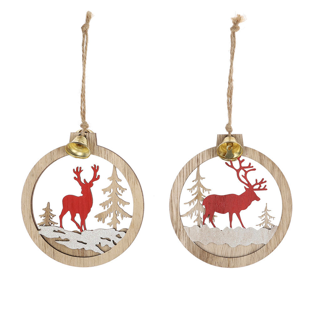 2021 Wholesale Wood Pendant eer Christmas Tree Hanging Decorations