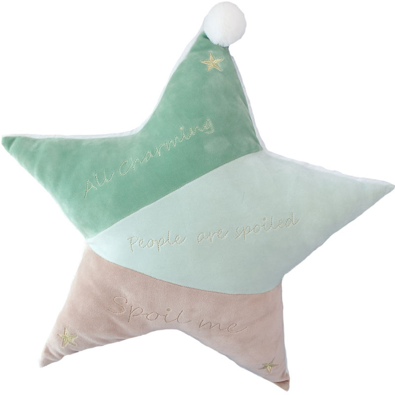 ultra soft greenish and pinkish star shaped throw pillow cuddly cushion with white fur ball for nordic home decoration