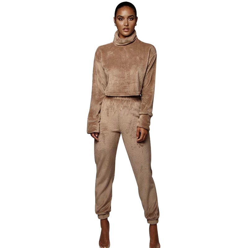 In Stock Fast Delivery Brown Solid Color Turtleneck Sweatshirt Pants Two Piece Set Winter 2 Piece Sets Clothing For Women