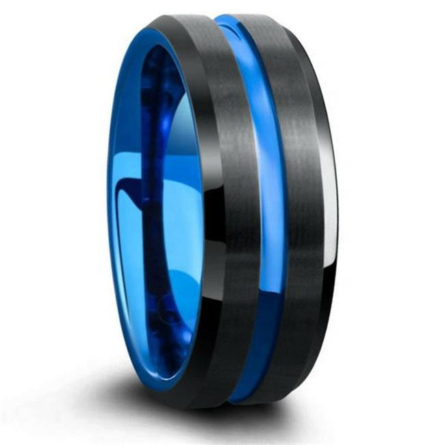 Guangzhou Jewelry black Tungsten steel ring 8MM Blue Mens Wedding Bands blue thin line