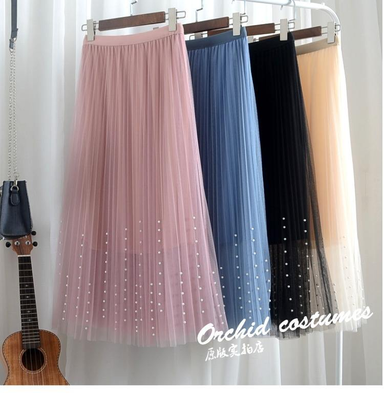 Girl skirt women summer spring autumn mesh tulle skirts elastic high waist A Line long skirts