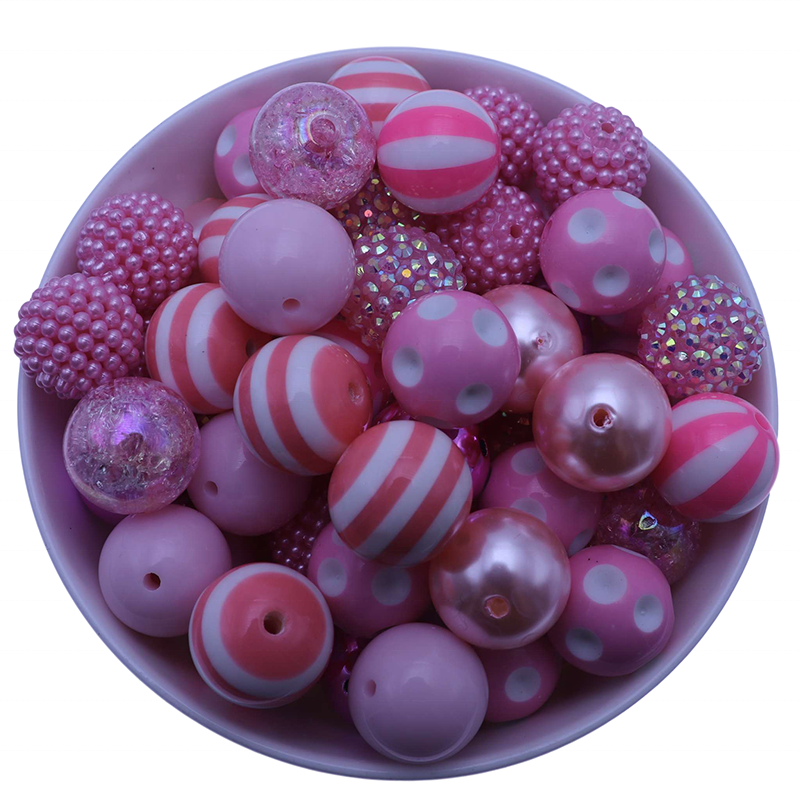 Beading Supplier China New 20MM Pink Color Set Round Chunky Fashion Acrylic Bubblegum Beads For Jewelry Making