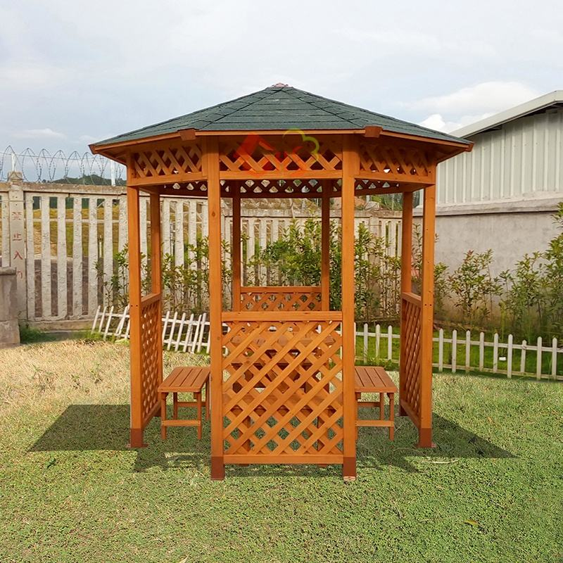 Chinese Octagonal Wood Gazebo outdoor canopy