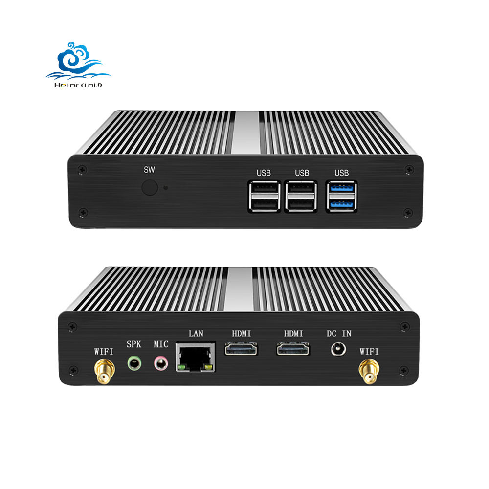 Fanless 2 Hd Micro Computer Dual Display Nuc Intel Celeron N2808 6Usb Lan Ddr3L Windows 10 Desktop Mini Pc