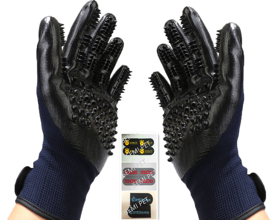Pet Grooming Gloves pet Cleaning Brush Comb Rubber Five Fingers Deshedding Pet Gloves For Dog Animals Bathing Supplies
