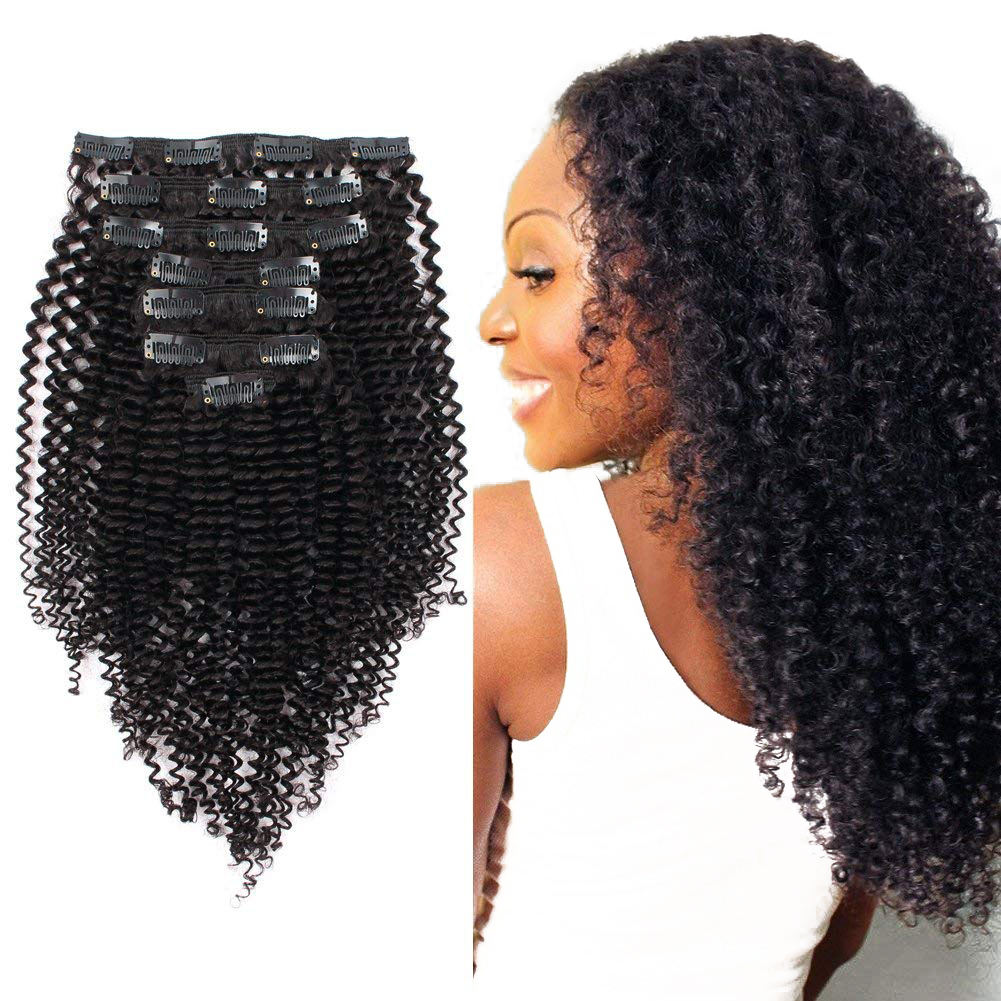 Kinky Curly Clip In Human Hair Extensions 100% Natural Hair Clip Ins 100g Brazilian Remy Hair 7PcsSet Full Head
