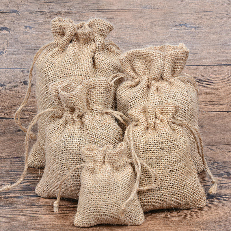 Various Size Volume Eco Friendly Storage Jute Pouch Bags with Drawstring Burlap Sacks Natural Biodegradable Jute Pouch Bags Logo