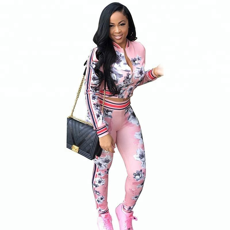 Clothing Vendor Floral Print Women Tracksuit Summer Two Piece Set Crop Top and Pants Suit Cute Jogger Set Casual Sweat Suits