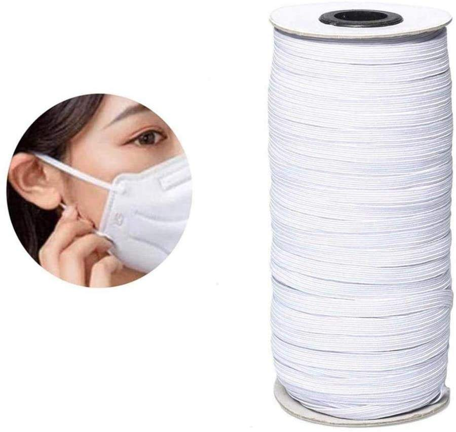 Flat braided heavy stretch knit fitness exercise elastic spool cord band rope bungee elastic bands cord elastics for mask masks